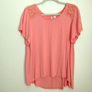 Cato Coral Blouse W/crochet Detail Front/Back Sm